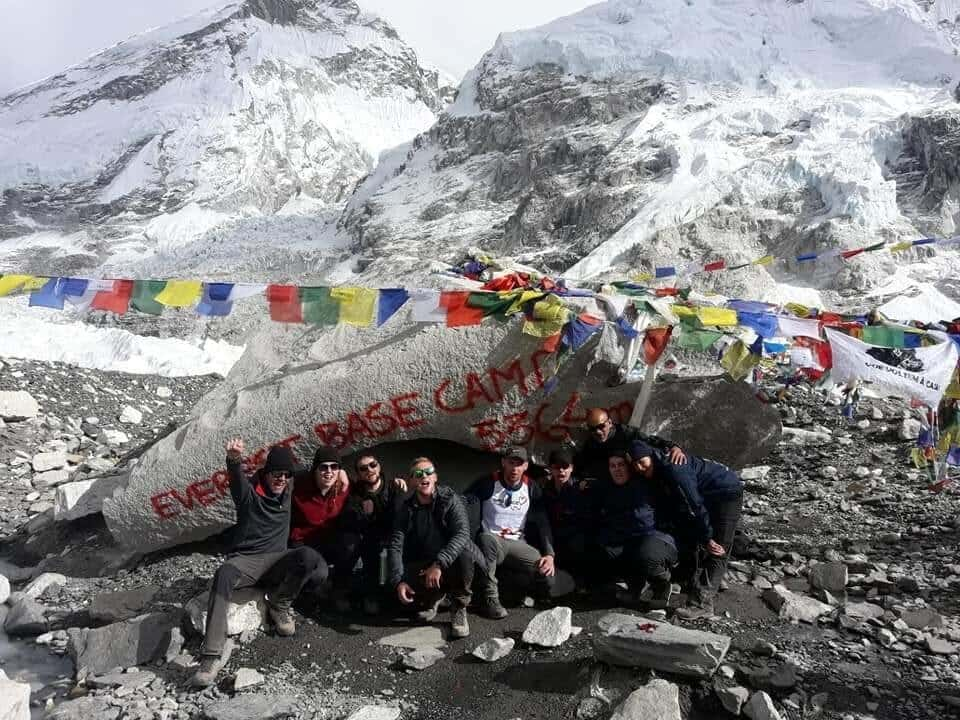 a group of walkers at Everest Base Camp